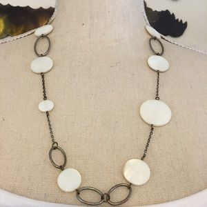 Vintage mother of pearl disc silver tone necklace
